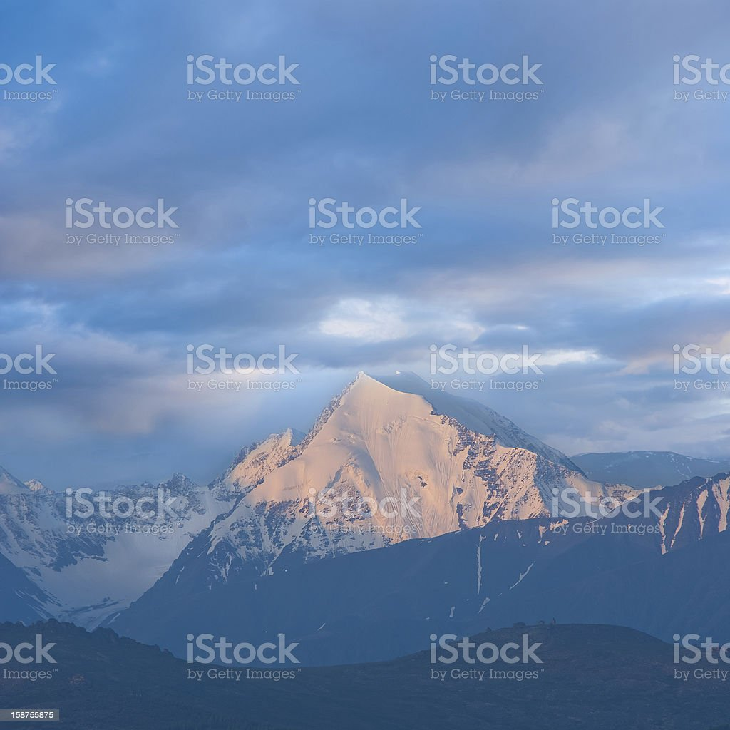 beluha mount at the early morning stock photo