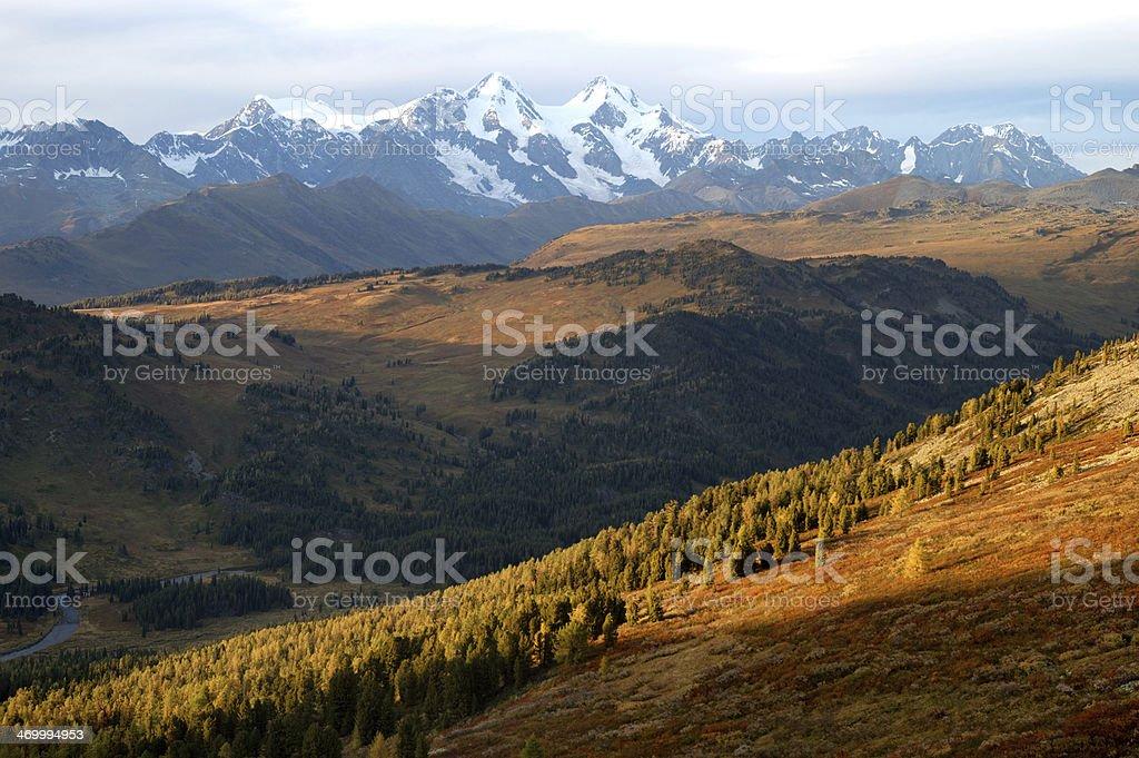Belukha mountain at sunset stock photo