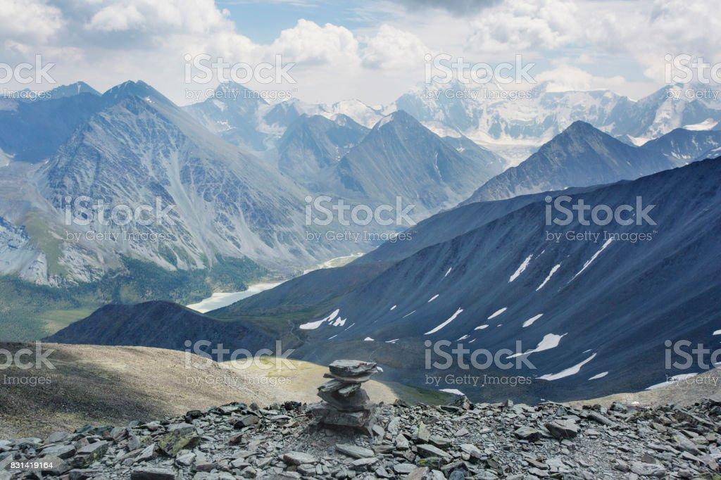 Belukha Mountain, View from the pass Karatyurek. Altai stock photo