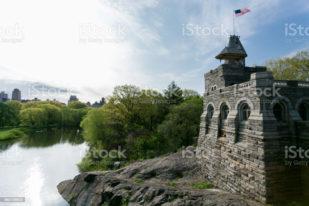 Belvedere Castle - Central Park - New York City - Manhattan - Sunny Day - Turtle Pond stock photo