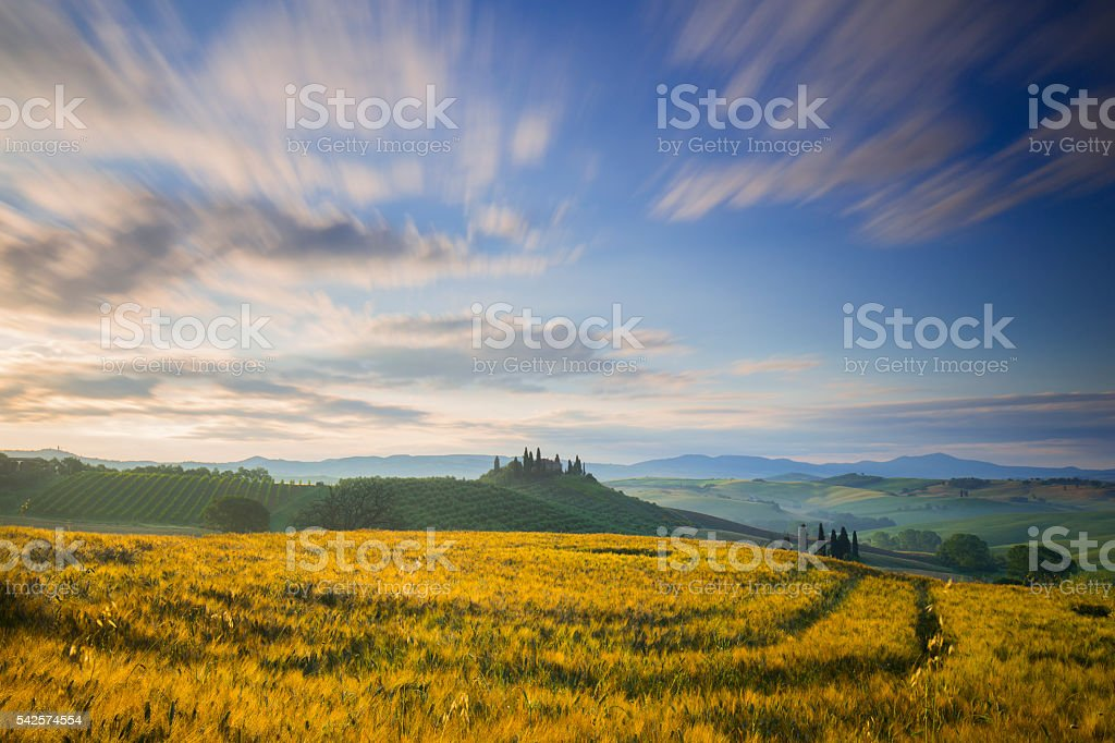 Belvedere farmhouse in San Quirico d'Orcia during sunrise stock photo