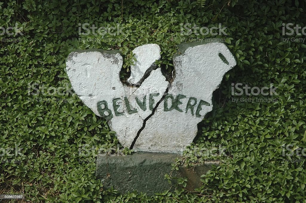 Belvedere Hiking Trail Sign stock photo