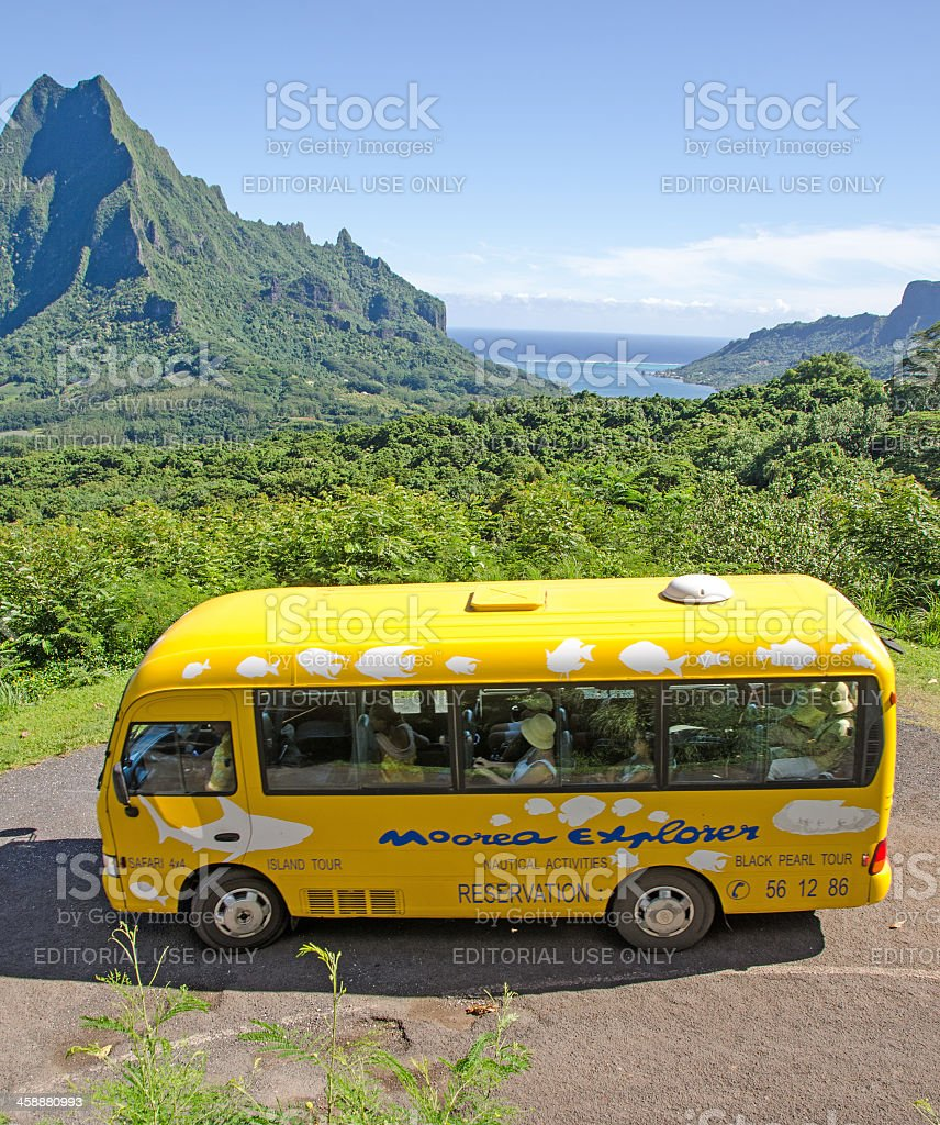 Belvedere Lookout and Bus. stock photo