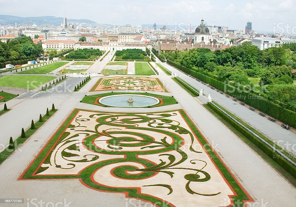 Belvedere Palace and its beautiful gardens stock photo