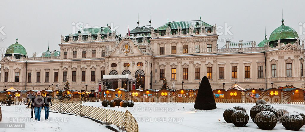 Belvedere Palace at Christmas, Vienna stock photo