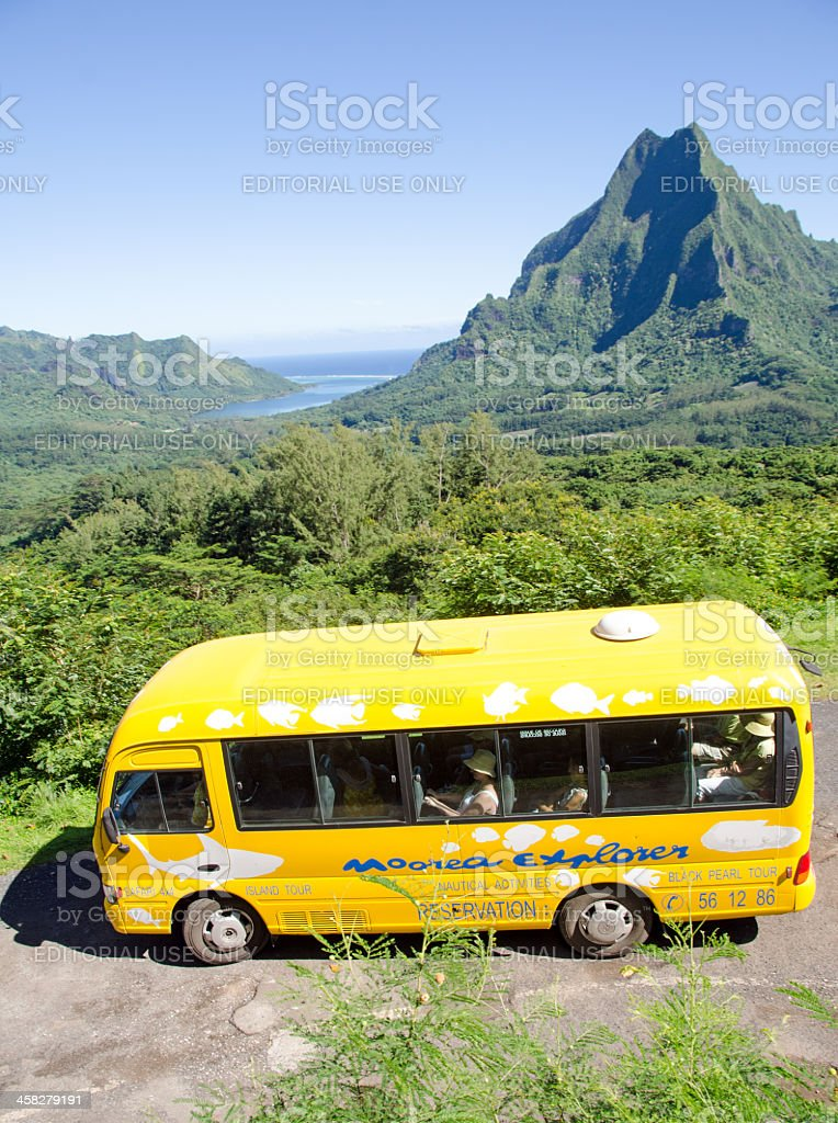 Belvedere Tour Bus and Opunohu Bay stock photo