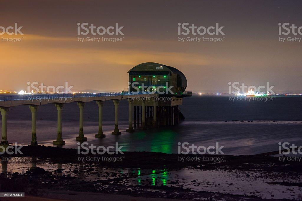 Bembridge Lifeboat Station at Night stock photo