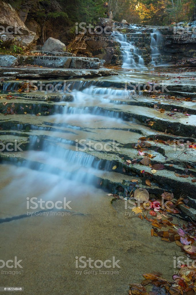 Bemis Falls in the White Mountains of New Hampshire. stock photo