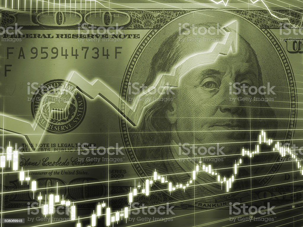 Ben Franklin 100 Dollar Bill Stock Market stock photo