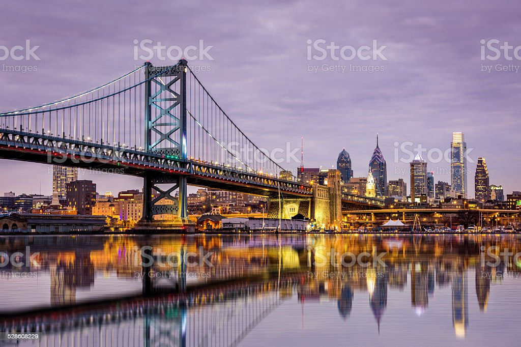 Ben Franklin bridge and Philadelphia skyline stock photo