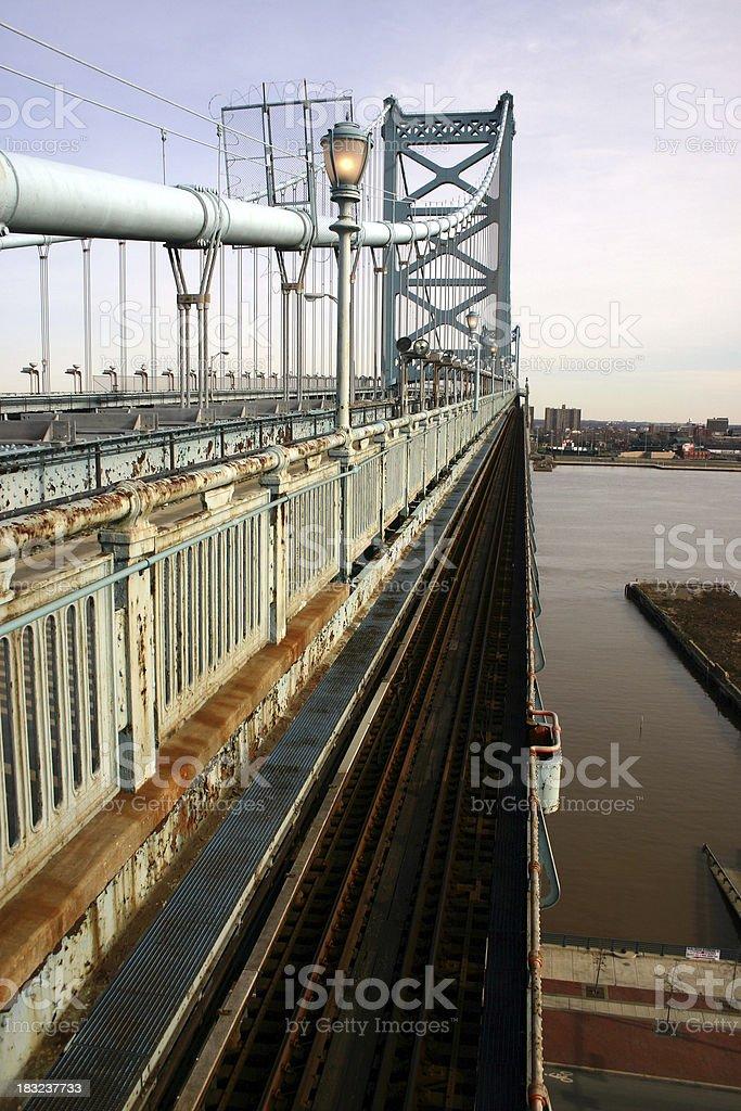 Ben Franklin Bridge Rail Line stock photo