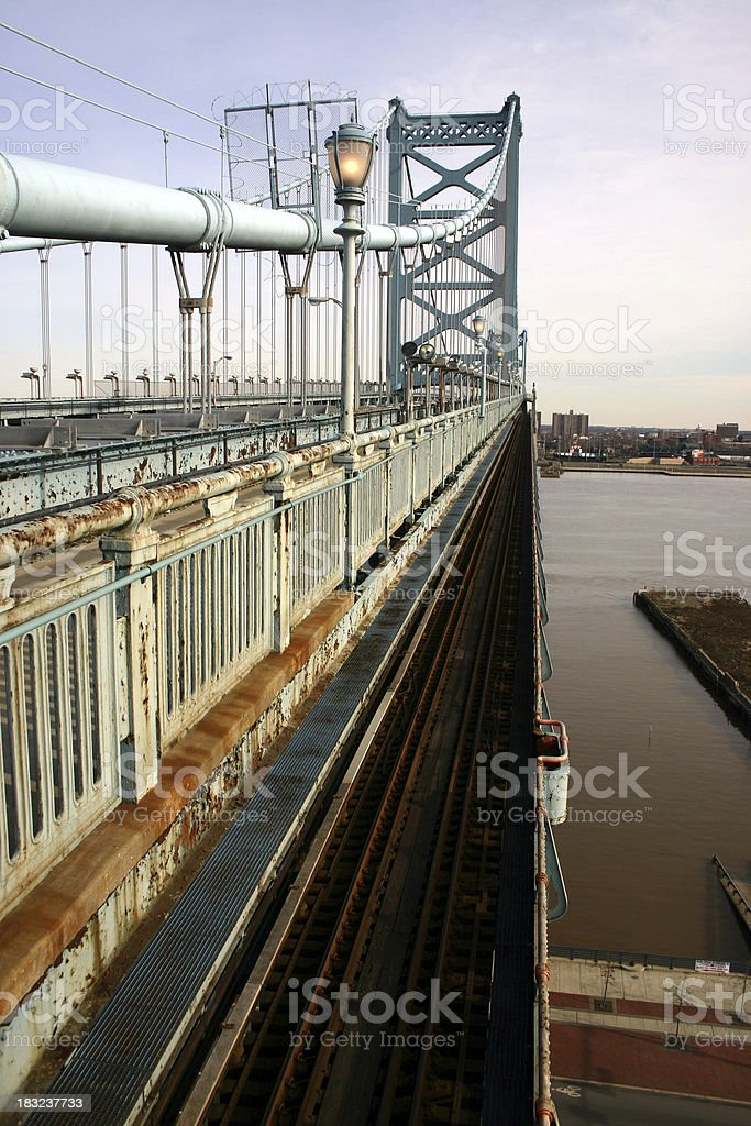 Ben Franklin Bridge Rail Line stock photo