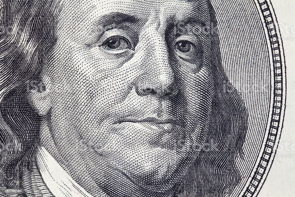 Ben Franklin close up royalty-free stock photo