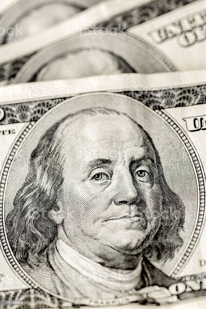 $100 Ben Franklin Face Close Up Macro royalty-free stock photo
