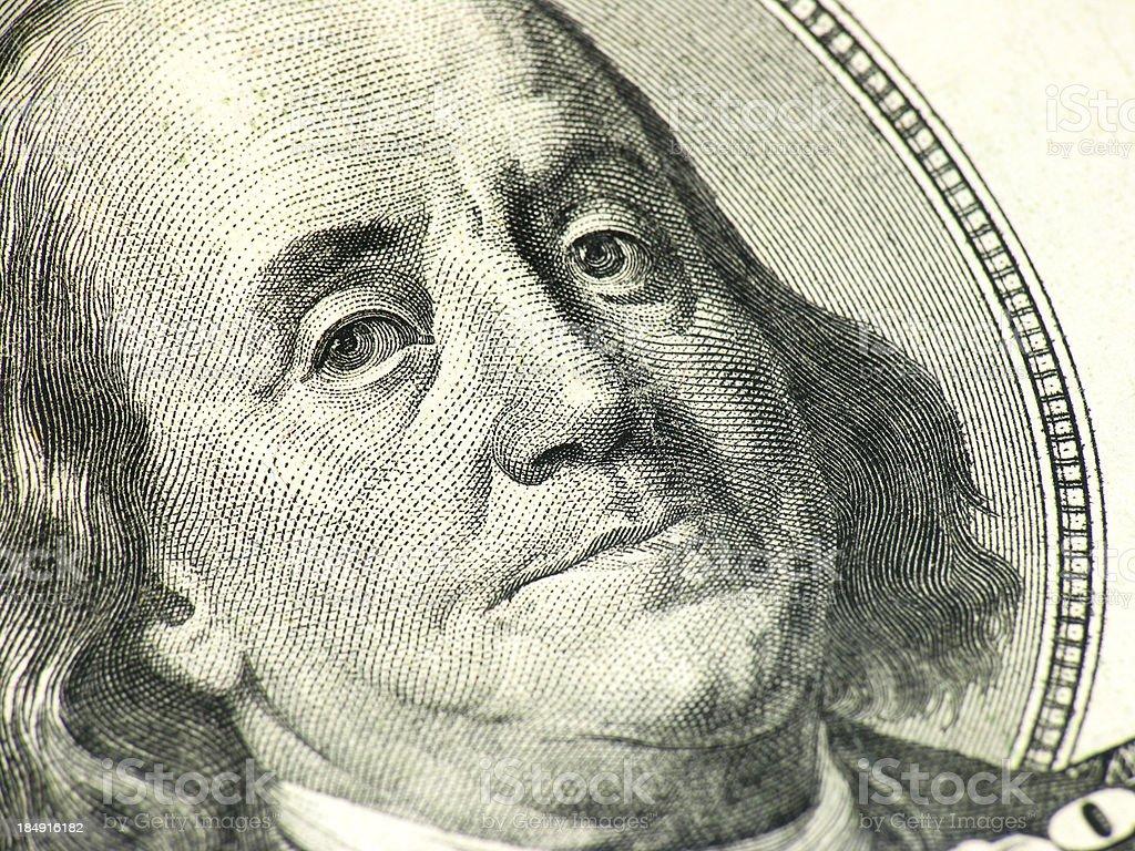 Ben Franklin Macro royalty-free stock photo