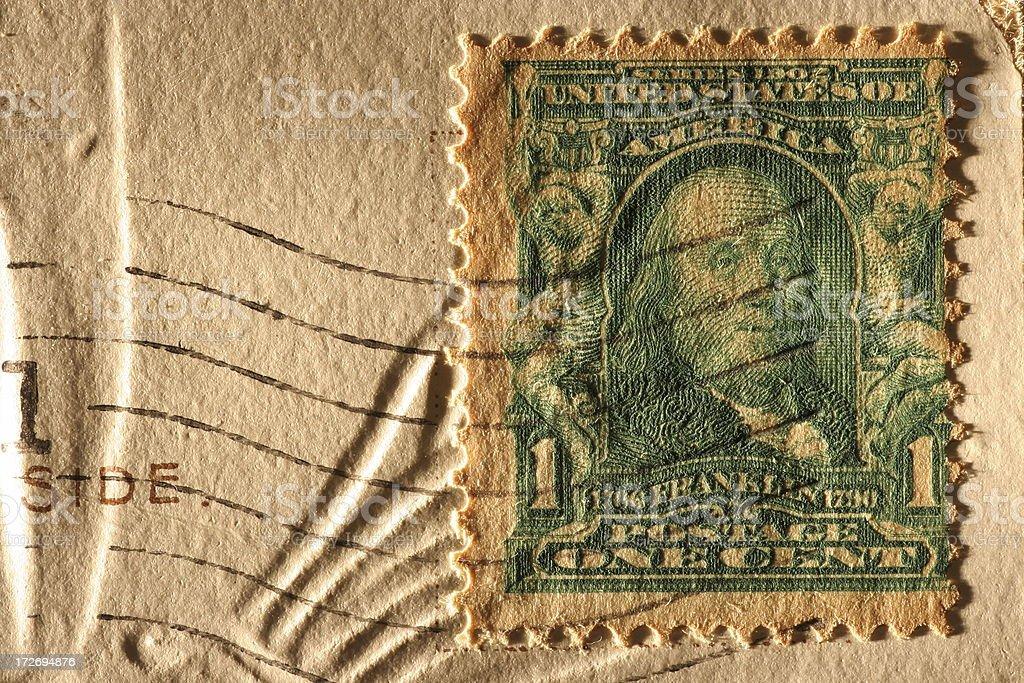 Ben Franklin Stamp stock photo