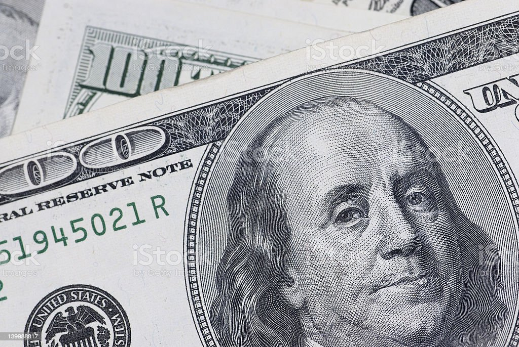 Ben Franklin up close horizontal royalty-free stock photo