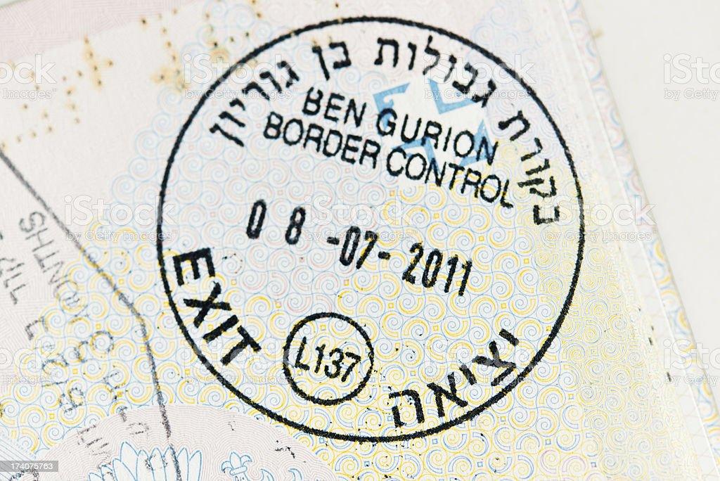 Ben Gurion Border Control Stamp royalty-free stock photo