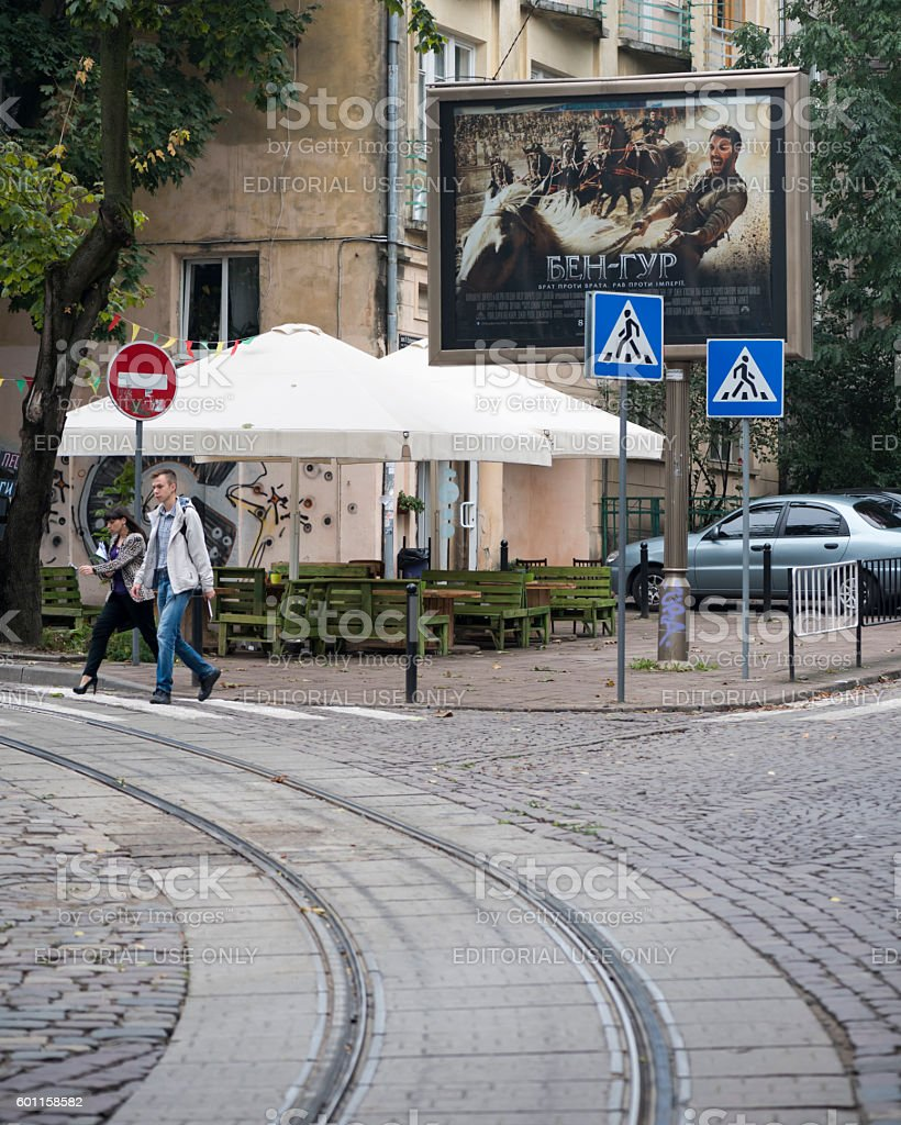 Ben Hur movie advertisement in Lviv, Ukraine stock photo