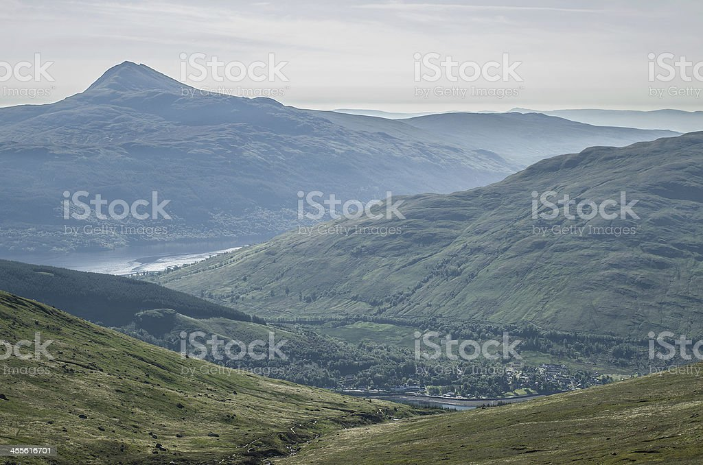 Ben Lomond covered by mist stock photo