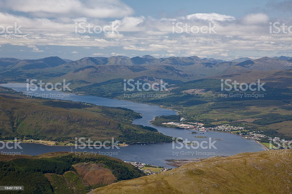 Ben Nevis in Scotland- View of loch Linnhe from summit stock photo