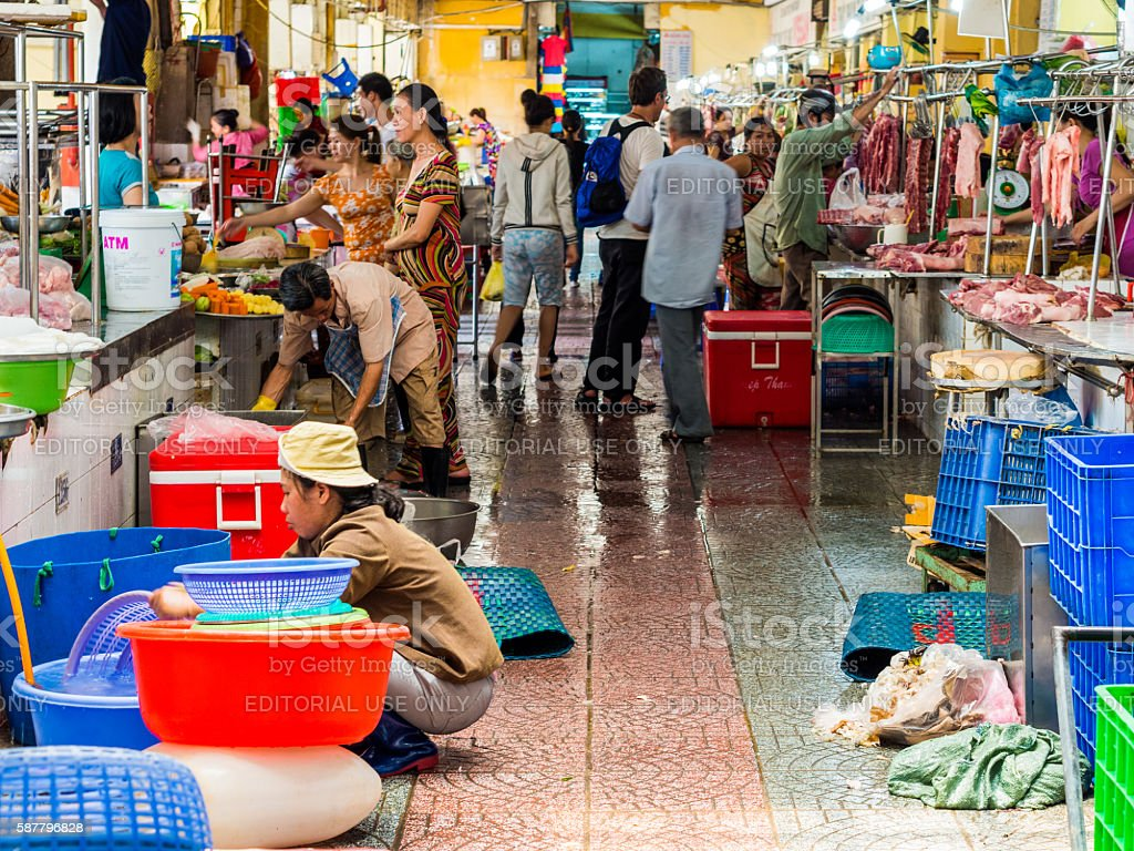 Ben Thanh Market in Ho Chi Minh in the morning stock photo