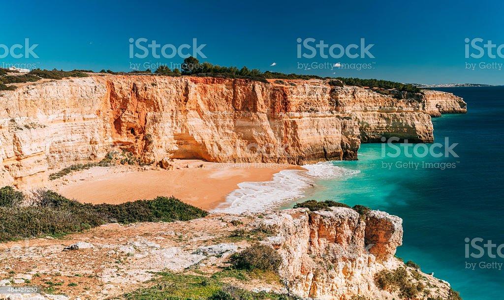 Benagil beach (Praia de Benagil) in Carvoeiro, Algarve, Portugal. stock photo