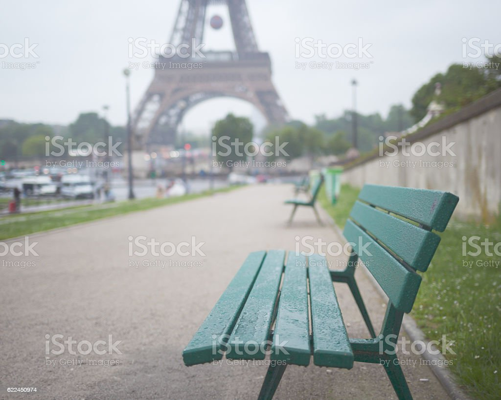 Bench and Eiffel Tower stock photo