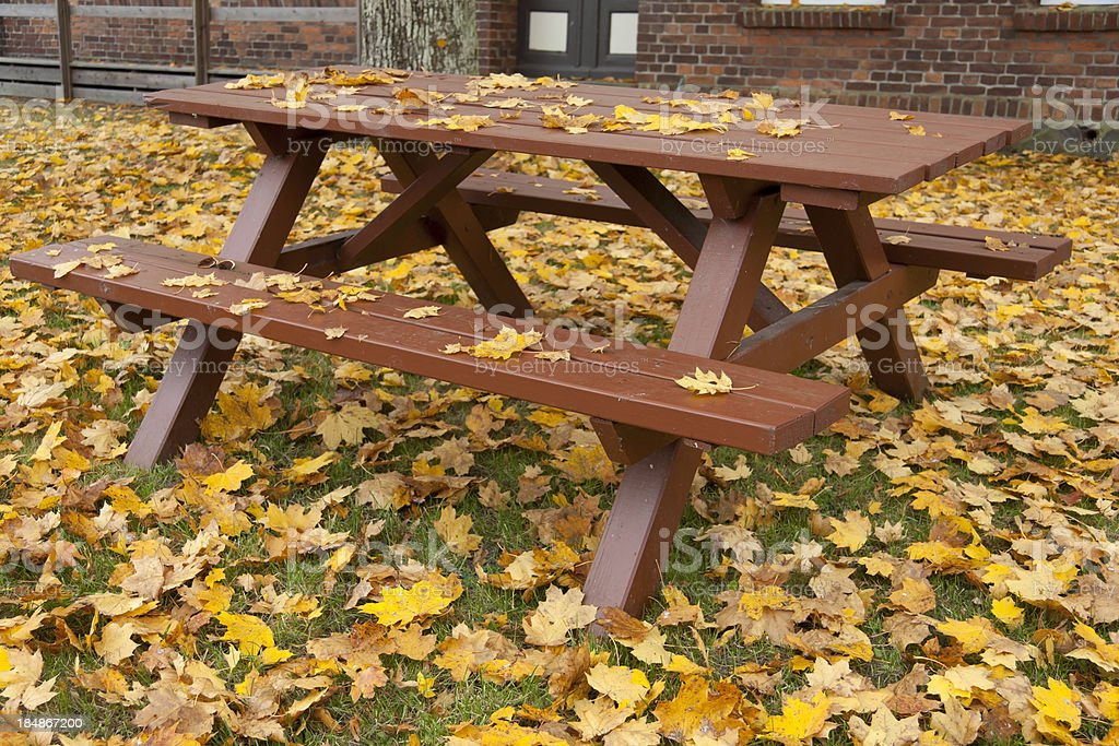 Bench and Table with Leaves stock photo