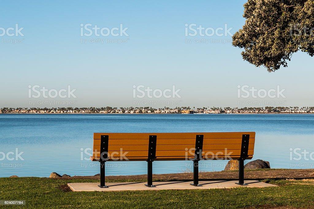 Bench and Tree at Chula Vista Bayfront Park stock photo