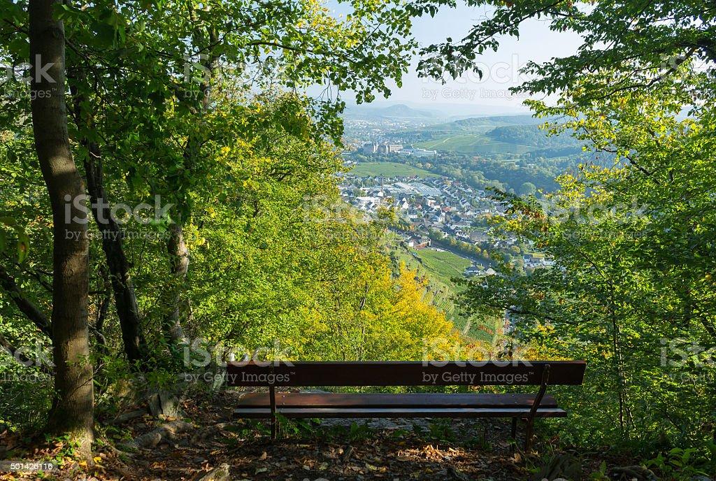 Bench and view near Dernau, Germany stock photo