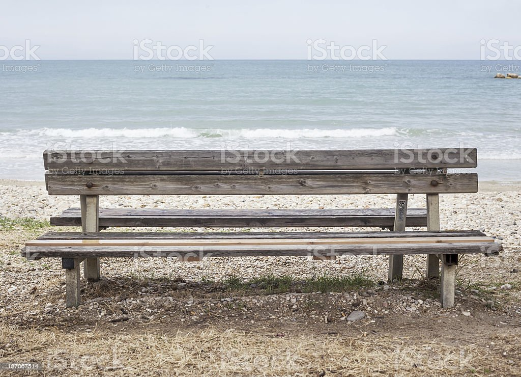 Bench At Beach stock photo