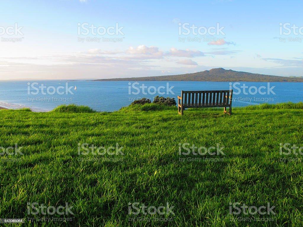 Bench at Devonport stock photo