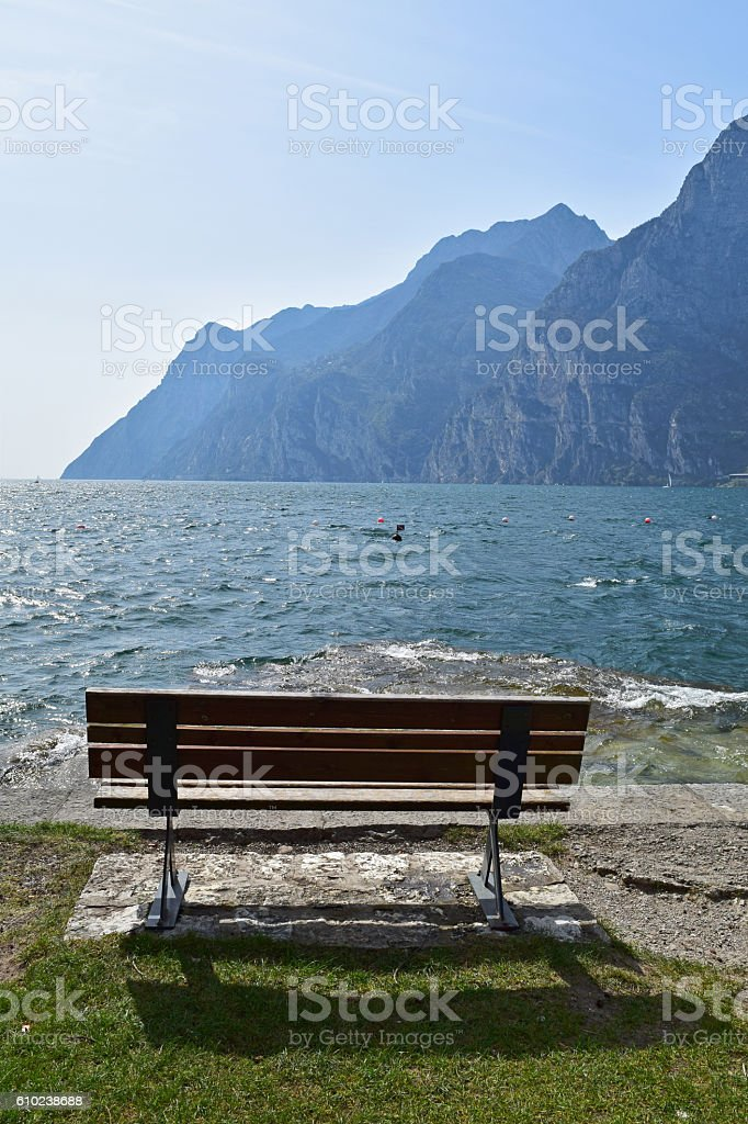 Bench at Lake Garda stock photo