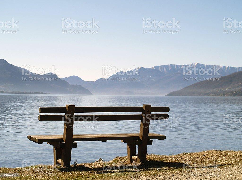 bench at lake stock photo