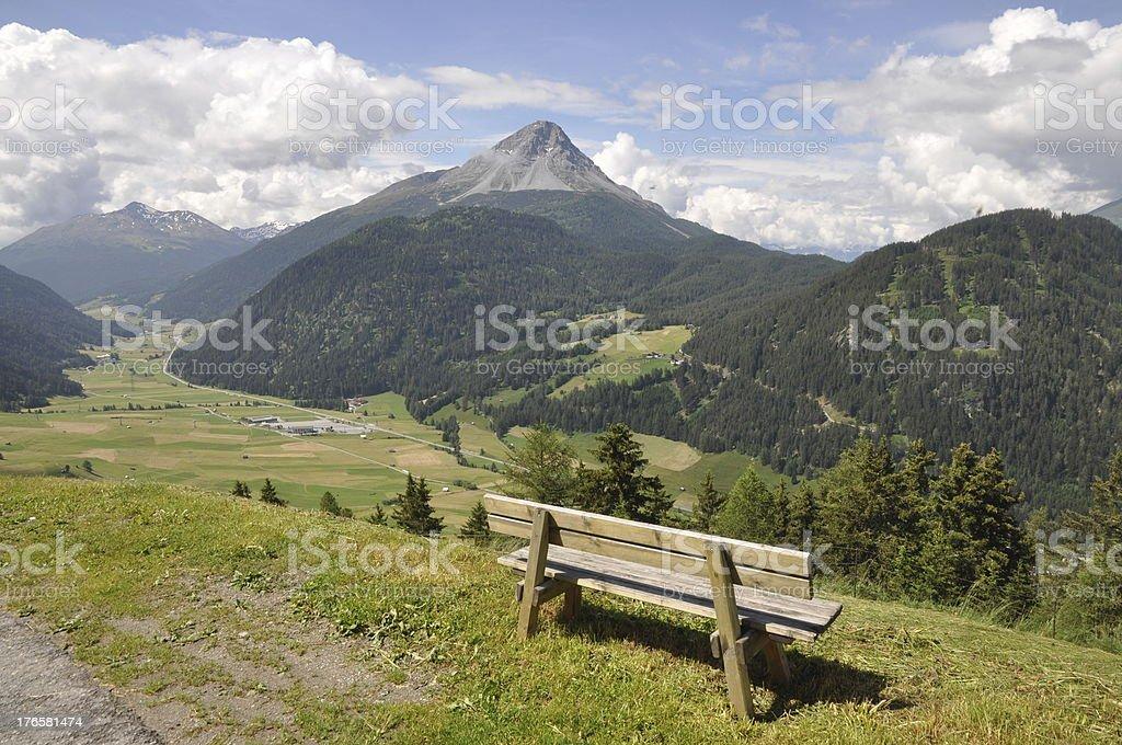 Bench at Nauders, Austria stock photo