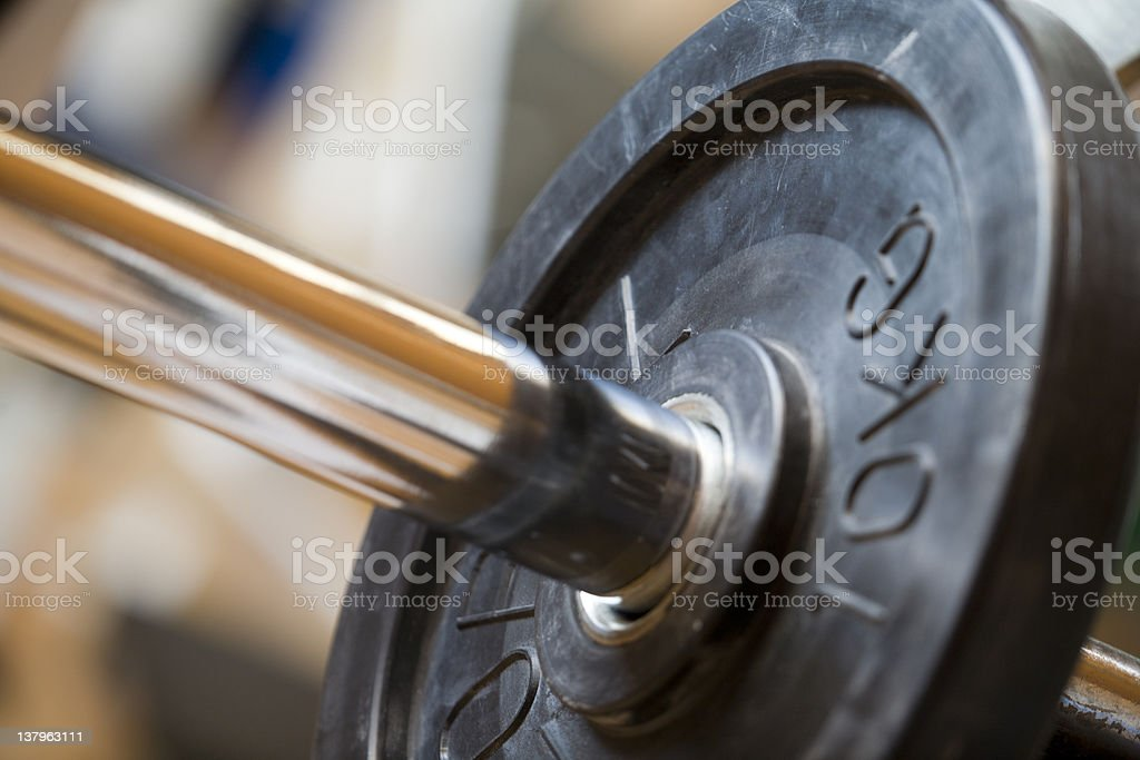 Bench bar and weight plate royalty-free stock photo