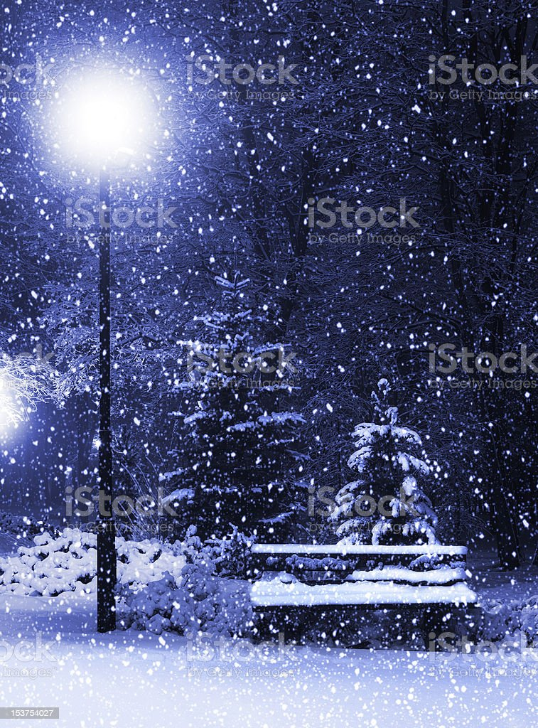 Bench, christmastree and lantern royalty-free stock photo