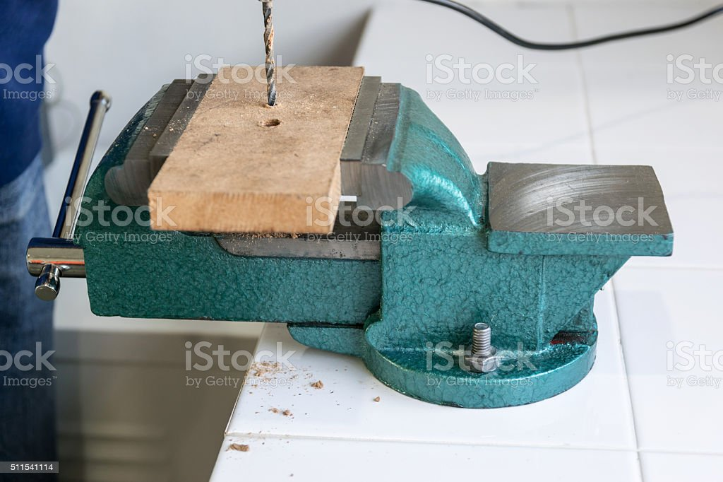 Bench clamp in the tool room. stock photo