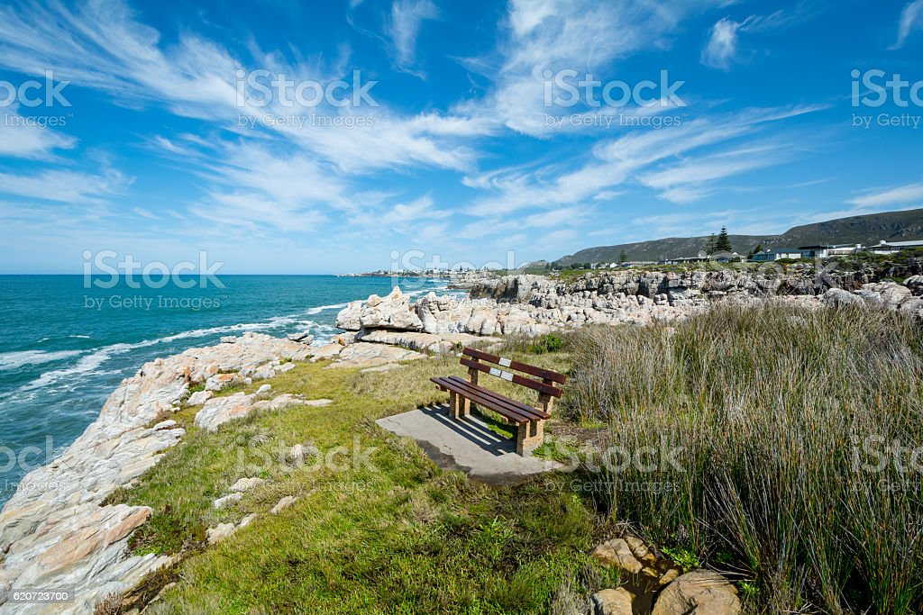 bench for Whale watchers at Hermanus stock photo