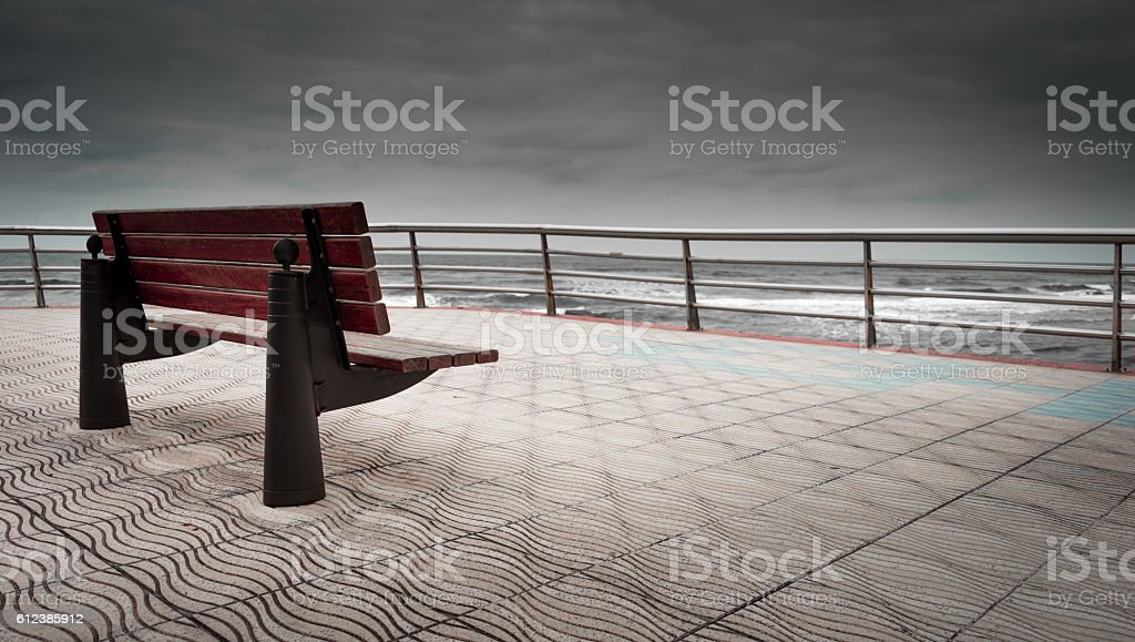 Bench from which to contemplate the sea stock photo