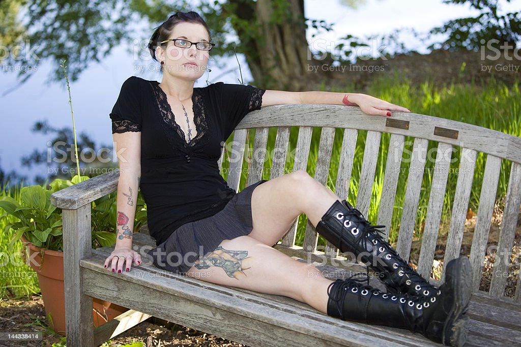 Bench Girl 1 royalty-free stock photo