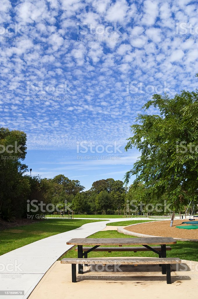 Bench in a park royalty-free stock photo