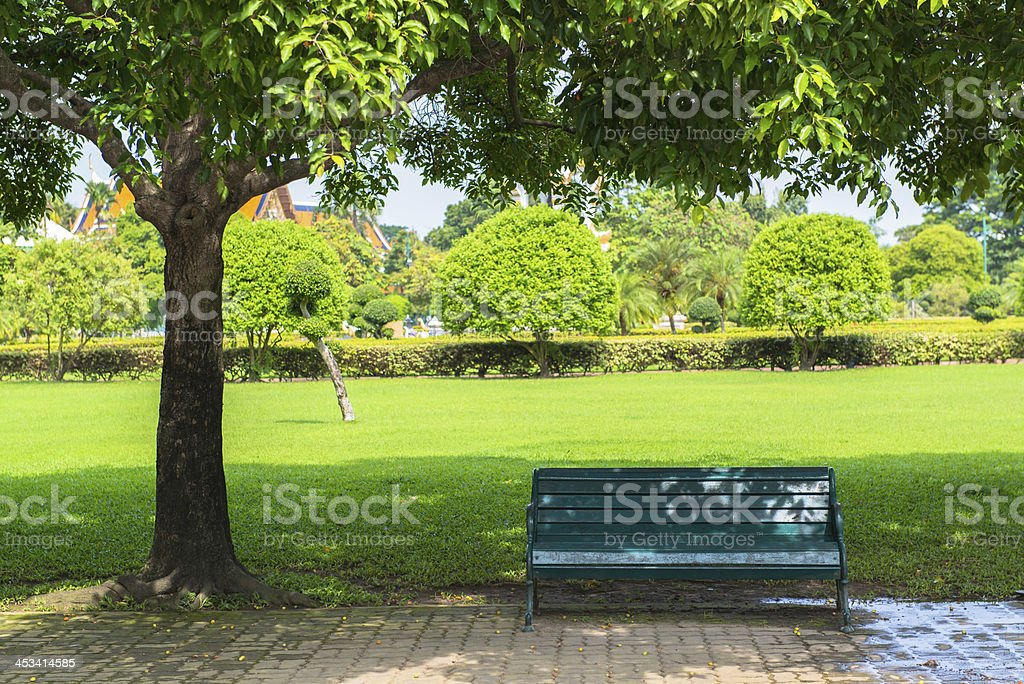 Bench in a park, spring time stock photo