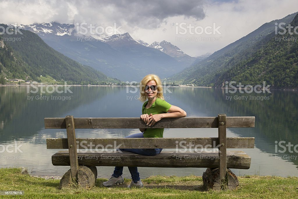 bench in Alps royalty-free stock photo