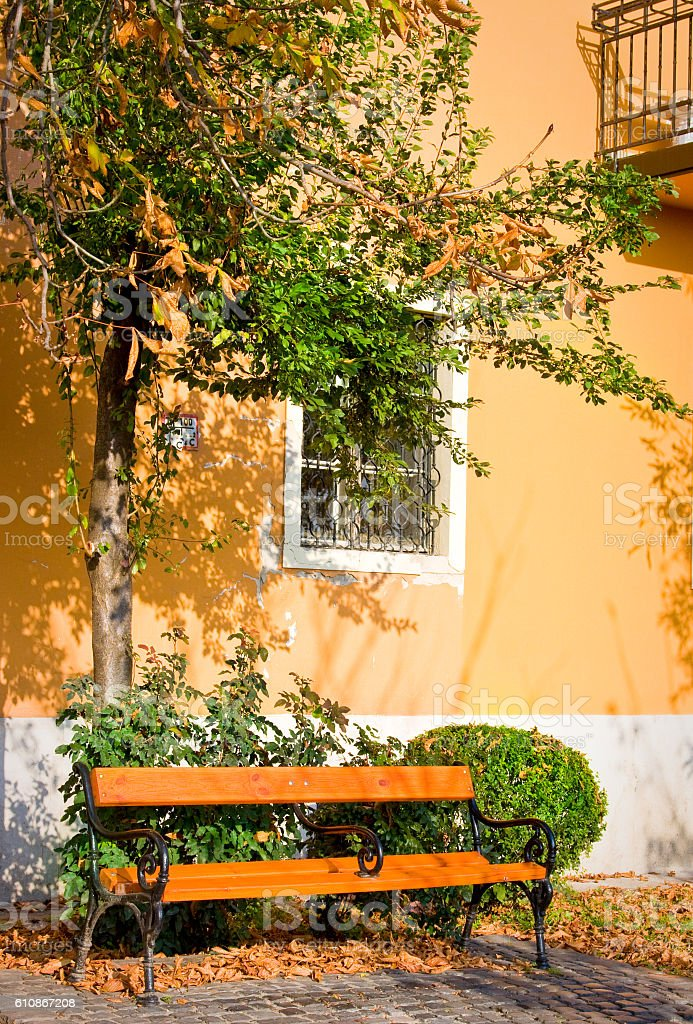 Bench in autumn at Castle of Budapest stock photo