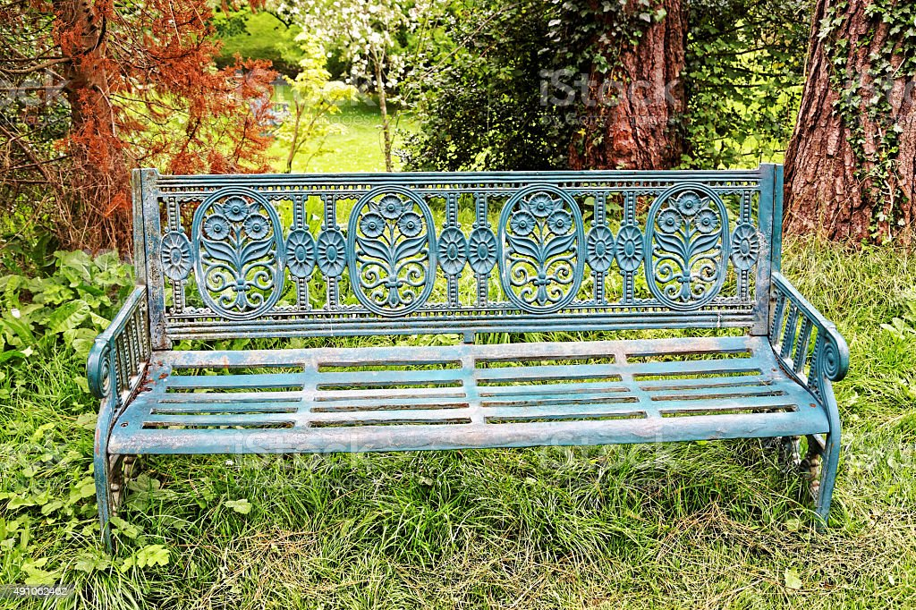 Bench in Avoca park in Kilmacanogue royalty-free stock photo
