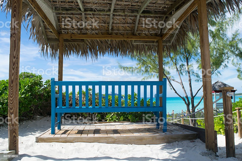 Bench in front of the Caribbean sea stock photo