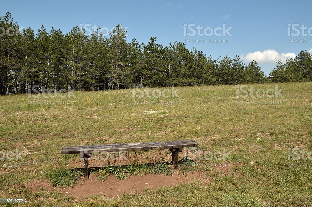Bench in landscape stock photo
