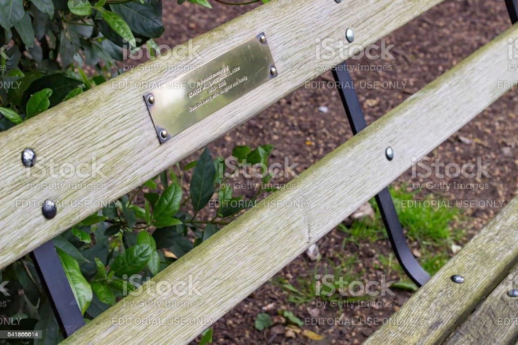 Bench in memory of Robert William Tunstall stock photo